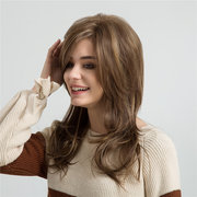 Mix Color Long Wave Hair Wigs For Lady 22 Inch Long Bangs Curly Synthetic Hair Wigs