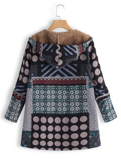 Polka Dot Random Print Patchwork Hooded Vintage Coats