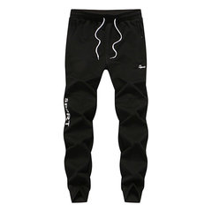 Mens Spring Fall Big Size Sport Pants Elastic Waist Drawstring Pencil Casual Sportwear