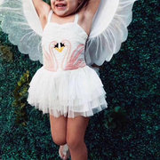 Flamingo Embroidery Girls Angel Wings Performance Princess Dress For 2Y-11Y