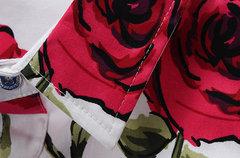 Hawaiian Plus Taille Coton Manches Longues Imprimé Fleur Bouton Dress Up Chemises pour hommes