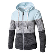 Hombre transpirable rayas a rayas Patchsring Sombrero Zip Up Hoodies Casual Hooded Tops