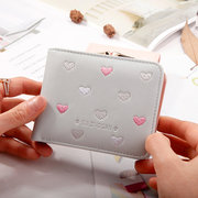 Women Embroidery Wallet Multi-function 4 Card Slot Lovely Coin Purse
