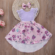 2Pcs Floral Toddler Girls Summer Lace Flower Pageant Party Vestido + Cabello Banda Para 2Y-9Y