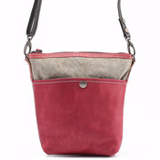 Women Canvas With Leather Hitcolor Crossbody Bag Genuine Leather Bucket Bag