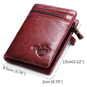 Women Bifold Genuine Leather Short Wallet 7 Card Slot Multifunction Purse Coin Bag