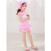 Kid Baby Girls Lace-trim Flounce Sleeveless Bowknot One Piece Swimsuit Suits
