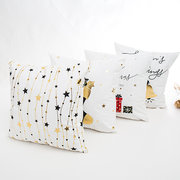 Christmas Stock Presents Stars Bell Gold Stamping Cotton Linen Cushion Cover Home Decor Pillowcase