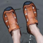Homens mão costura couro antiderrapante Gancho laço casual sandálias ao ar livre