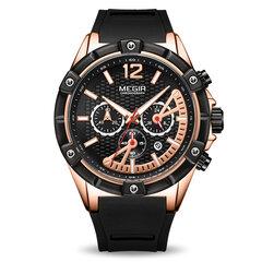 أزياء الرياضة كوارتز ساعة مضيئة كرونوغراف ضد للماء سيليكون حزام ساعة اليد