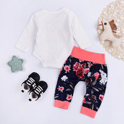 2pcs Letter Floral Pattern Cotton Baby Romper Clothing Set For 0-24M