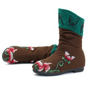 Floral Embroidered Retro Casual Boots