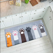 Cartoon Cute Cat Claw Flannel Floor Mat Strong Water Absorption Home Bedroom Living Room Carpet