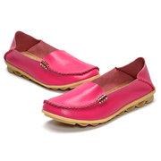 Sapatos Loafers de Tamanho Grande e Couro Requintado Suave  Sapatos Slip On de Cor Pura Confortável