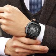MUNITI Luxury Big Square Dial кожаные мужские деловые часы Life Водонепроницаемые военные кварцевые часы