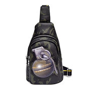 Men And Women PU Leather Print Sling Bag Casual Crossbody Bag Leisure Chest bag