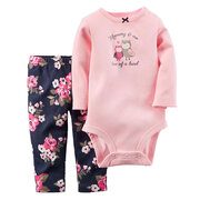 2Pcs Solid Cotton Long Sleeve Baby Romper Pants Set For 0-24M