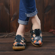 SOCOFY Retro Flowers Pattern Stitching Genuine Leather Adjustable Buckle Strap Platform Sandals