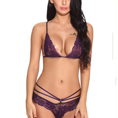 Sexy Crocheted Hollow Bandage Panties Harness Strappy Back Tops Bra Sets