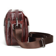 Men Genuine Leather Bag Solid Cowhide Oil Wax Leather Business Crossbody Bag