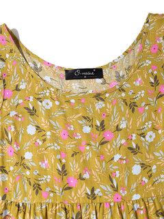 Богемный цветочный принт без рукавов Plus Размер макси Платье