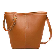 Women 2PCS Stylish PU Leather Bucket Bags Shoulder Bags Handbags
