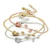 Trendy Rose Banhado A Prata Rosa Flor Cadeia Rose Gold Pulseiras Mulheres Melhor Presente