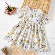 Floral Printed Girls Kids Chiffon Summer Casual Dress For 4Y-15Y