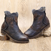 SOCOFY Sooo Comfy Retro Handmade Splicing Flat Soft Ankle Leather Boots