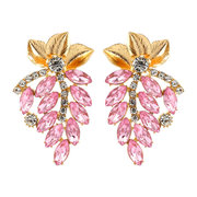 African Rhinestone Leaves Earrings Drop Retro Long Style Diamond Earrings For Women