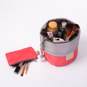 High Capacity Barrel Shaped Travel  Cosmetic Bags Nylon Organizer Toiletry Makeup Bags For Women