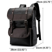 Men Large Capacity PU Leather Backpack Casual Vintage Shoulder Bag
