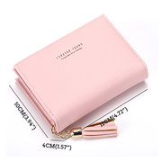 Women Faux Leather Tassel Card Holder Coin Purse