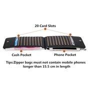Portefeuille business antimagnétique RFID décontracté en cuir véritable avec 20 fentes carte porte-cartes pour téléphone 5.5 pouces