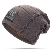 Mens Winter Plus Velvet Warm Knitted Hat Casual NC Letter Solid Skullies Beanie Hat