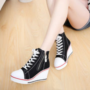Big Size Canvas Korean Style High Top Lace Up Zipper Wedge Heel Casual Shoes