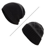 Mens Wool Velvet Knitted Hat Vintage Vogue Warm Winter Outdoor Casual Dual Use Beanie