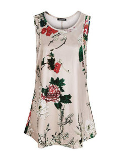 Front Open Floral Print Sleeveless Nursing Tops