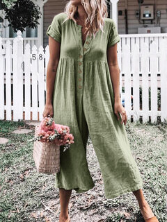 Solid Color Button Casual Wide Legs Short Sleeve Jumpsuit