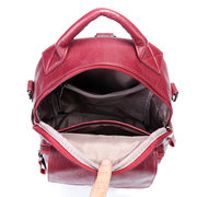 Women Soft Leather Multi-function Handbag Solid Leisure Large Capacity Backpack Casual Crossbody Bag