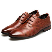 Men Leather Hole Breathable Non Slip Casual Formal Shoes