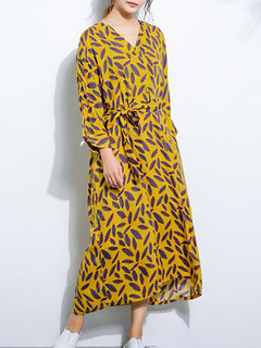Feather Print Long Sleeve V-neck Long Dress with Belt