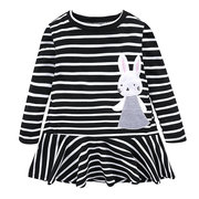 Rabbit Pattern Girls Spring Summer Long Sleeve Bunny Casual Dresses For 2Y-9Y