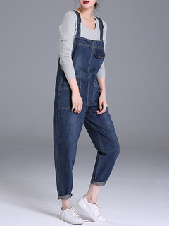 Casual Denim Pockets Rompers For Women