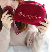 Velvet Cartoon Lovely Style Cosmetic Storage Bags Clutch Purse Wallet For Women Girl