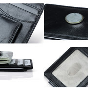 RFID Antimagnetic Men Genuine Leather Business Card Holder Wallet