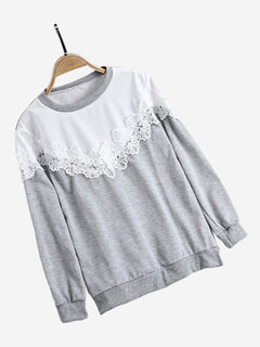 Casual Crew Neck Lace Sweatshirts