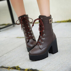 Lace Up Ankle Boots Plus Size Black Boots For Women