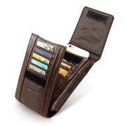 Hommes Vintage Casual 11 Titulaires De Cartes Multi-fonction Peau De Vachette Wasit Bag Sac De Téléphone