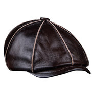 Men's Genuine Leather Warm Octagonal Cap Casual Vintage Newsboy Cap Golf Driving Hat